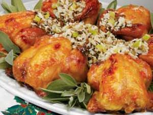 Wild Rice Stuffed Cornish Hens