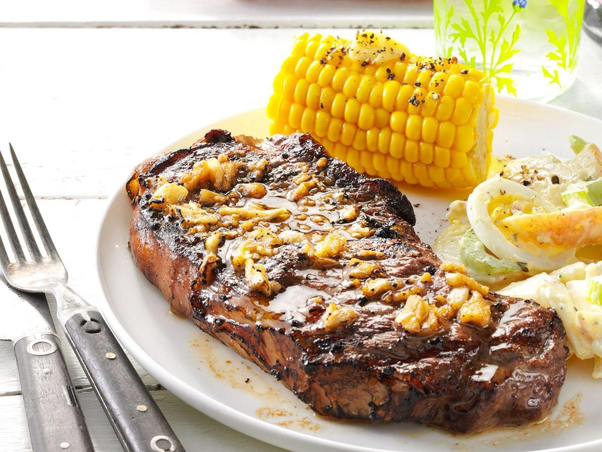 garlic grilled steaks recipe taste of home